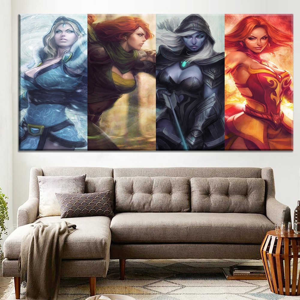1 Piece Large Game Poster Modern Unique Gift Home Decorative Wall Artwork Top-Rated Canvas Print Dota 2 Woman Hero Painting