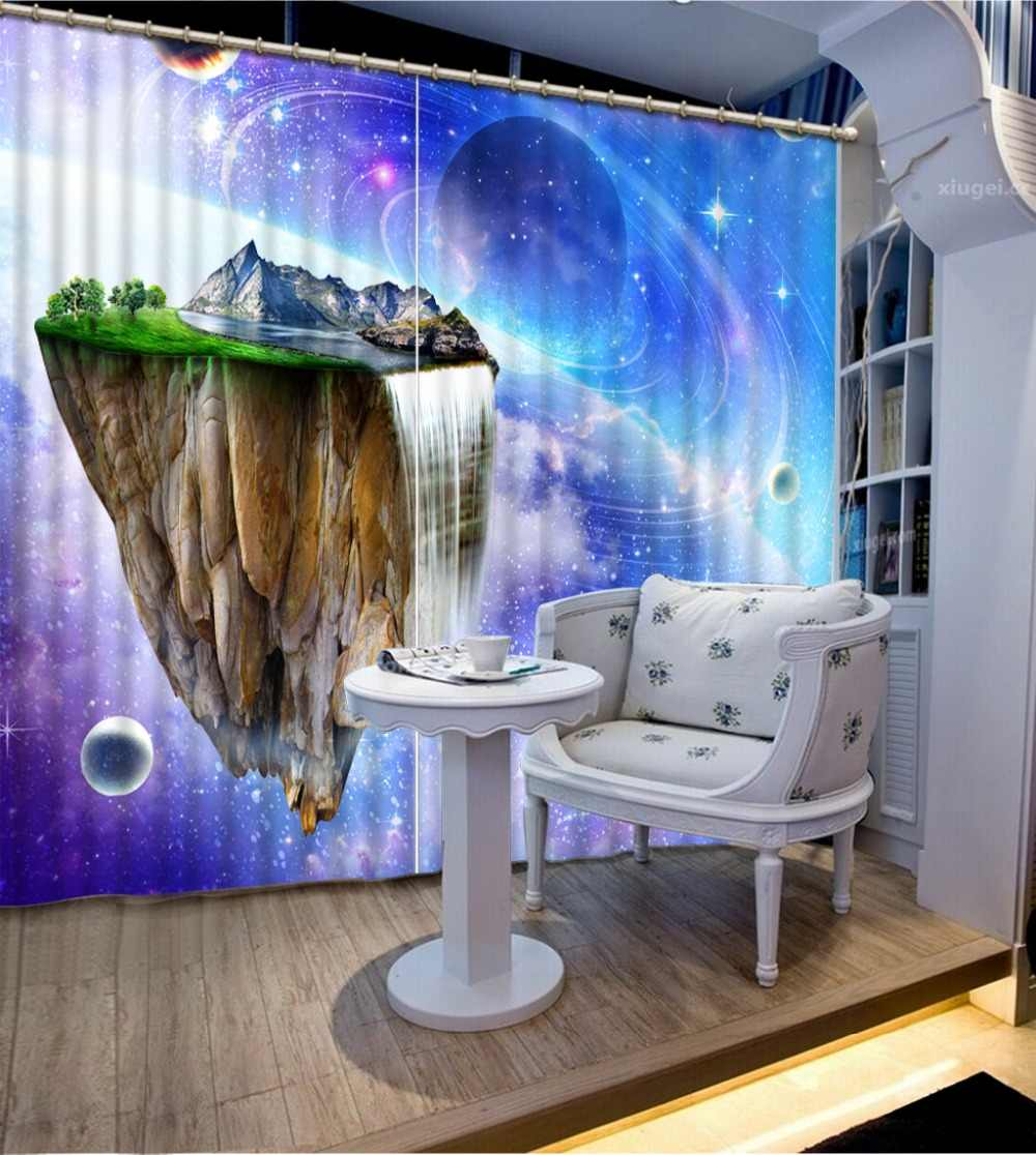 Customized size Luxury Blackout 3D Window Curtains For Living Room dream curtains blue curtains