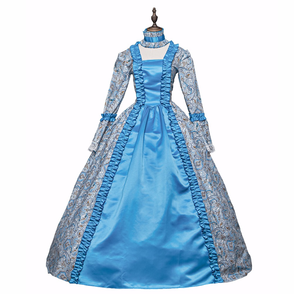Nouvelle robe de bal Rococo bleue gothique princesse victorienne Costumes Halloween Cosplay robes