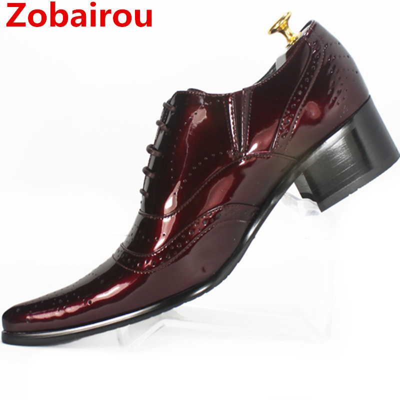 Zobairou sapatos masculinos mens patent leather black red shoes formal dress wedding oxford flats italian men shoes luxury