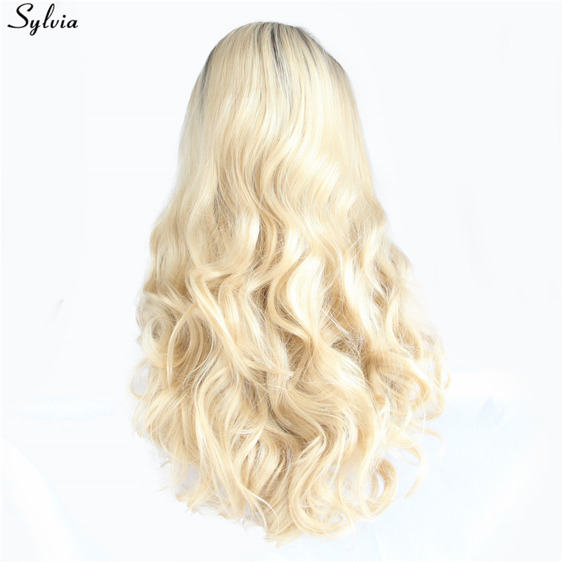Sylvia Synthetic Lace Front Wigs Gold Pastel Blonde Ombre Long Hair Heat Resistant Fiber Body Wave Hairstyle For Women Festival-in Synthetic None-Lace  Wigs from Hair Extensions & Wigs    3