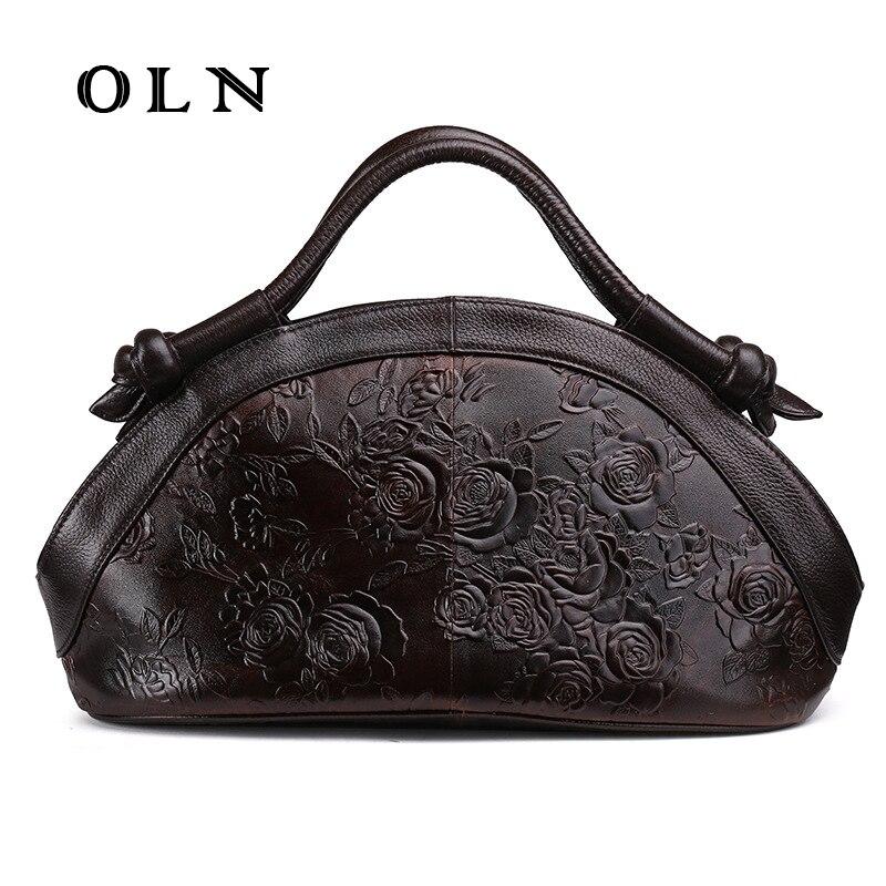 OLN Luxury Designer  Women Genuine Leather Handbags  Ladies Retro Elegant Shoulder Messenger Bag Embossed Floral Bolsas Big