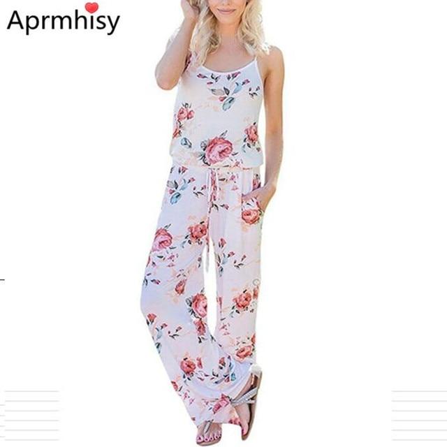 d6a001e0d21e Aprmhisy Floral Print Jumpsuit Sexy Backless Back Women Summer Jumpsuits  Plus Size Loose Strap Casual Elegant Jumpsuit
