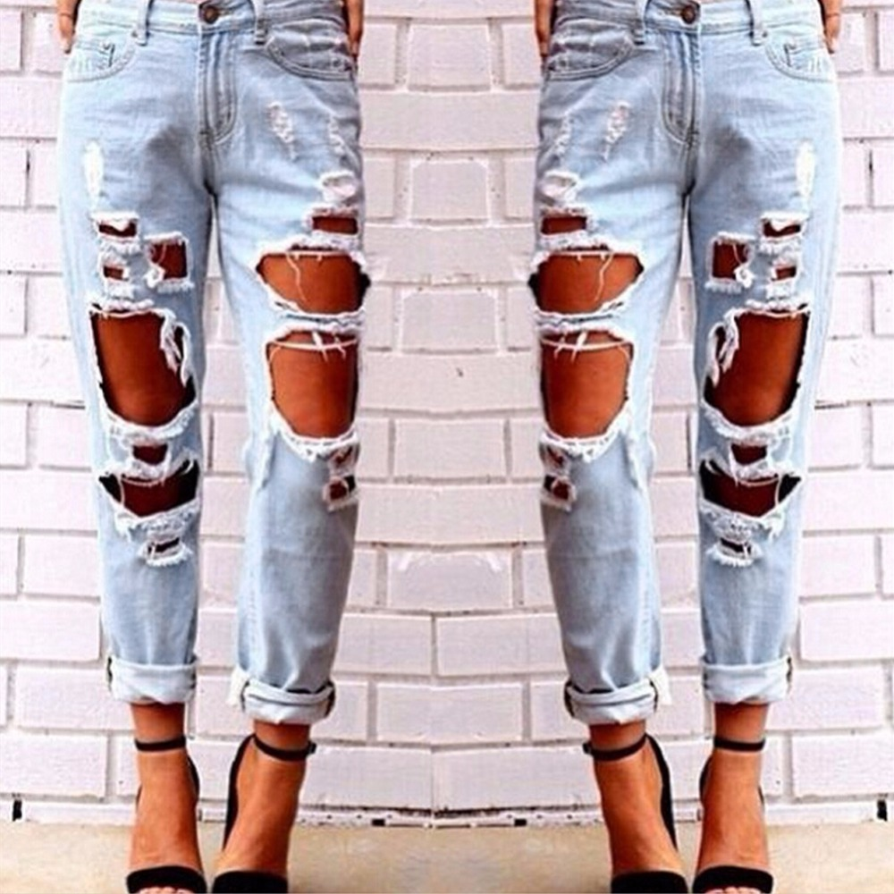 Sexy Fashion font b Women b font Destroyed Ripped Distressed Slim Denim Pants Boyfriend Softtener Straight