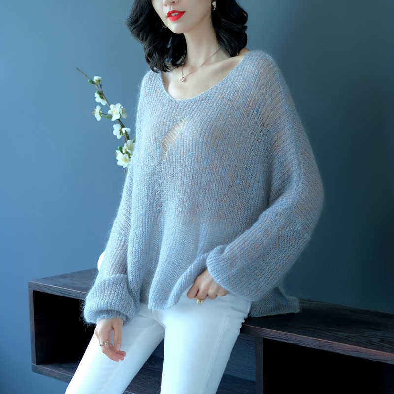 ... YISU Mohair Sweater 2018 Autumn Women Oversize Sweaters Fashion Pullovers  Loose Cracking Knitted Sweaters Female Jumper ... 16b0368f9