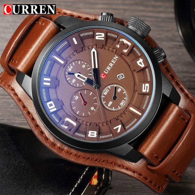 a245a9e51eb Curren Homens Relógios Top Marca de Luxo Relógio de Quartzo Homens Militar  Esporte Hodinky Relógio Dropship