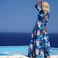 2017 Summer Fashion Print Floral Long Dress 3/4 Sleeve Blue Plus Size Chiffon Bohemian Floor Length Dresses Vestidos de festa
