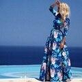 2017 moda verão impressão floral dress 3/4 manga longa azul plus size chiffon bohemian vestidos até o chão vestidos de festa