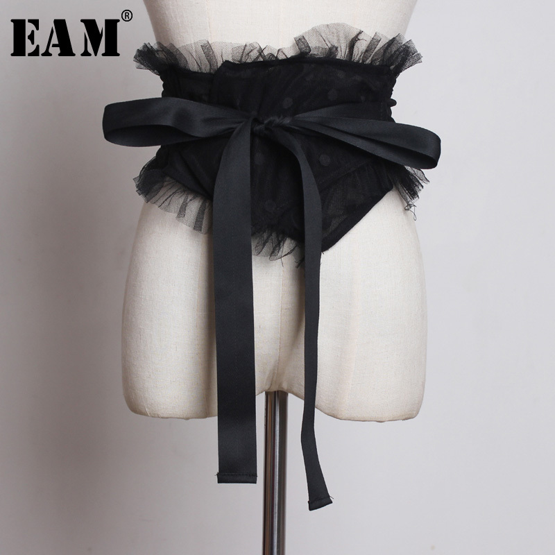 [EAM] 2019 New Spring Summer Black Ruffles Split Joint Mesh Personality Bow Wide Belt Women Fashion Tide All-match JS760