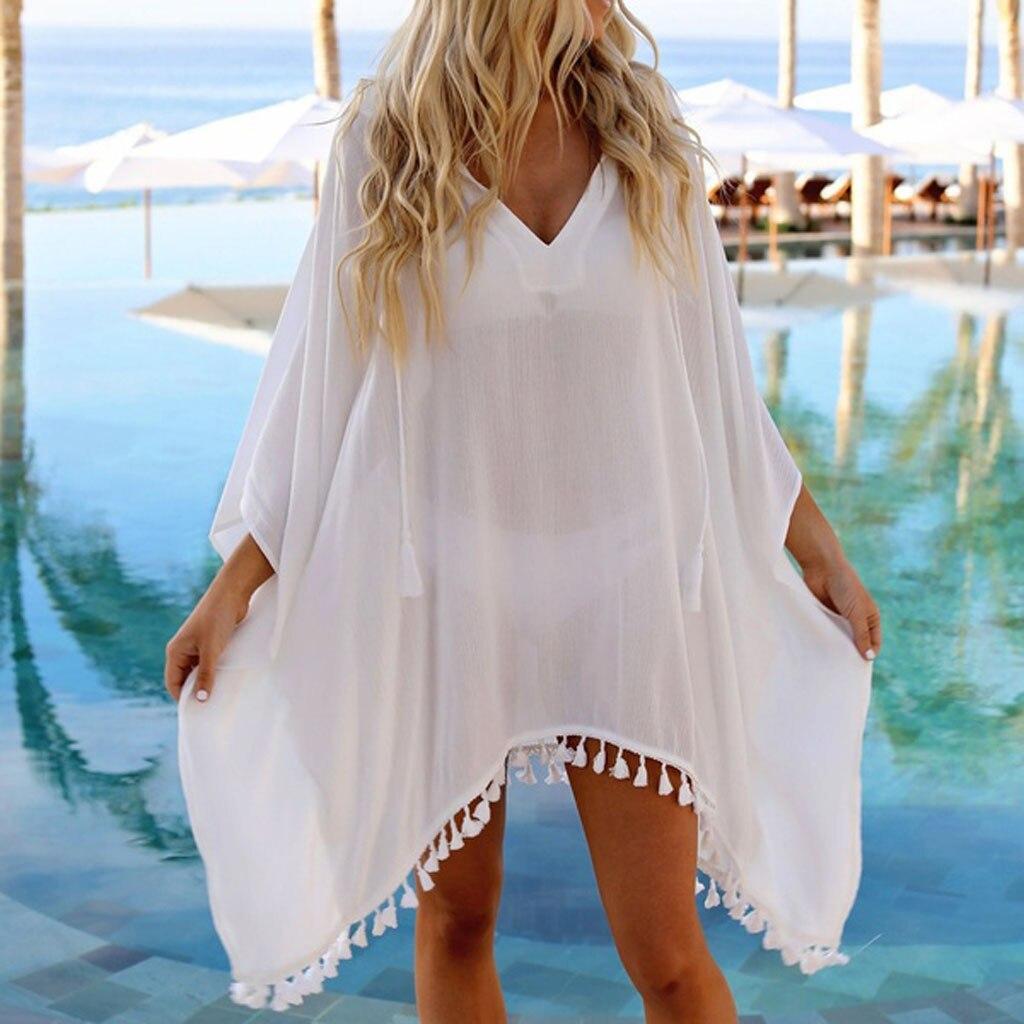 2019 Chiffon Beach Dress Perspective Pom Pom Trim Biikini Beach Cover Up Swimsuit Kaftan Beach Wear Pareo Saida De Praia Playa