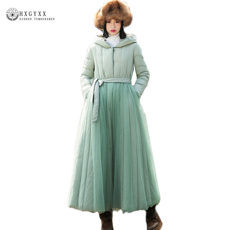 2019 Winter Vintage Mesh Patchwork Long Duck   Down     Coat   Pure Color Thicken Warm Hooded Feather Jacket Plus Size Belt Parka Okb433