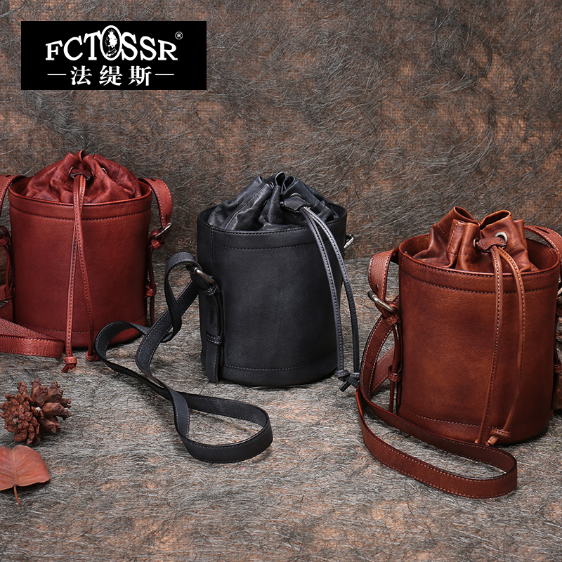 2018 Genuine Leather Women Bucket Handbag Retro Handmade Women Shoulder Bag Cow Leather Women Messenger Crossbody Bag Bucket cow leather handbag free delivery new leather women bag retro shoulder messenger bag leisure bucket bag
