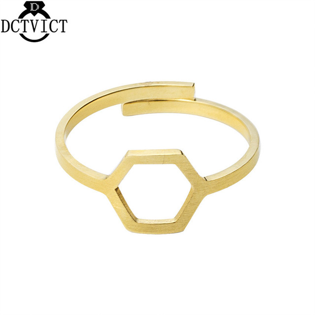 Gold Silver Adjustable Ring Geometric Hexagon Rings Women Men Jewelry Stainless Steel Anillos Mujer Bijoux Femme Birthday Gifts