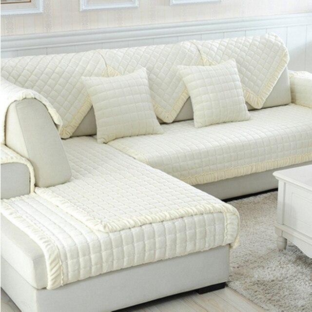 White Grey Plaid Sofa Cover Plush Long