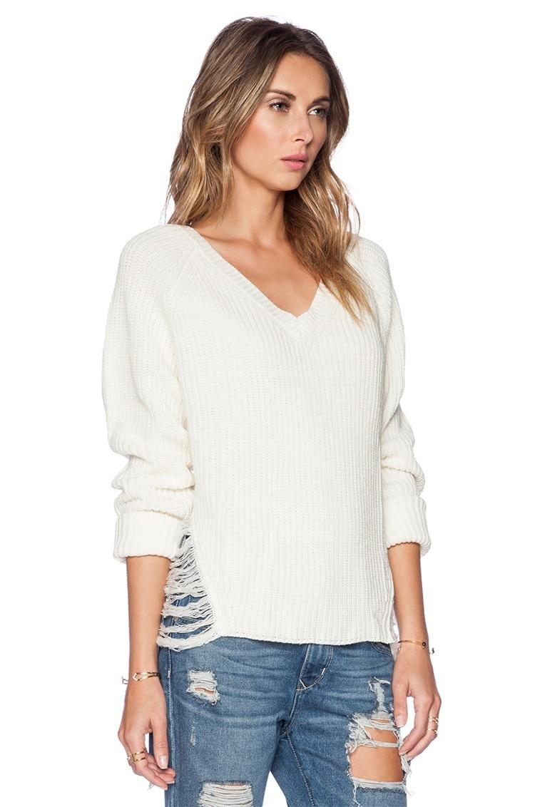 woman sweater winter 2015 Fashion V neck White Long Sleeve Hole ...