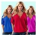 Ebay Европейский Новый Шаблон Взрывное Версия Простой Глубокий V Свинец Сплошной Цвет Код В Рукав женщин Шифона Рубашку 1017