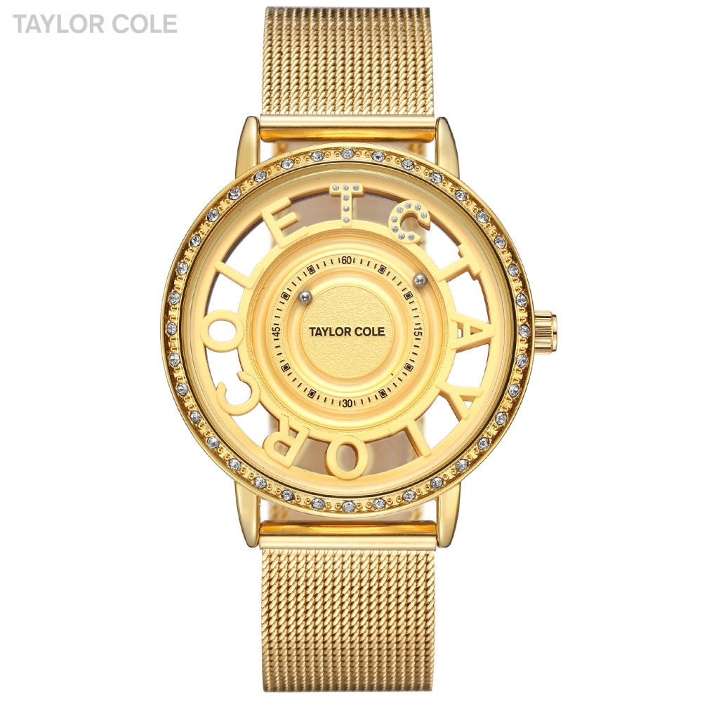 New Luxury Brand Taylor Cole Women Watches Alphabet Gold Clock Stainless Steel Strap Relogios Remininos Wristwatch Women / TC130 wristwatch brand wristwatch women wristwatch women gold -