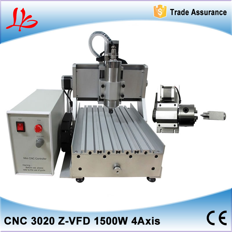 4 axis cnc machinery cnc 3020 metal engraving machine with 1500 water cooling spindle power , free tax to Russia
