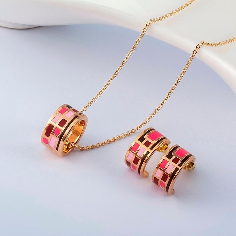 R&X Motesmykker Dubai Ensemble Bijoux Kvinner Jubileum Romantisk halskjede / øreringer Klassiske smykkesett Trendy Dieraden-sett