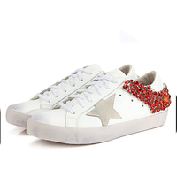 DaiYun 2017 New Pattern Colorful Rhinestones Leather Vamp Solid Colorflat Bottom Women Fashion ShoesV867