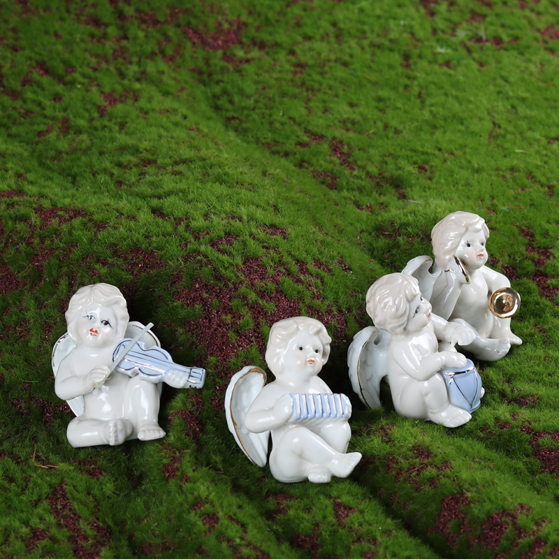 1pc Lovely Angels Ceramic Modern Home Crafts Ceramic Small Size Music Angels Gardening Miniatures Children Gifts Friends Gifts ...