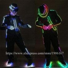 RGB LED выращивания MJ Стиль костюм со светодиодной подсветкой Костюмы для бальных танцев костюм со светодиодной Шляпа и туфли для танцев сцена праздничная одежда