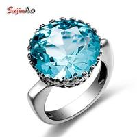 Russia Unique Design Bud Shape Fashion Aquamarine Sapphire Romantic Big Rings For Women Wedding Engagedment Luxury
