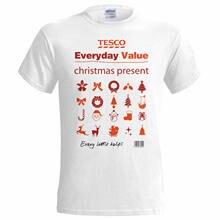 80bd3122 Tesco Value Xmas Present Christmas Funny Mens T Shirt Santa Snowman  Reindeer 100% cotton tee