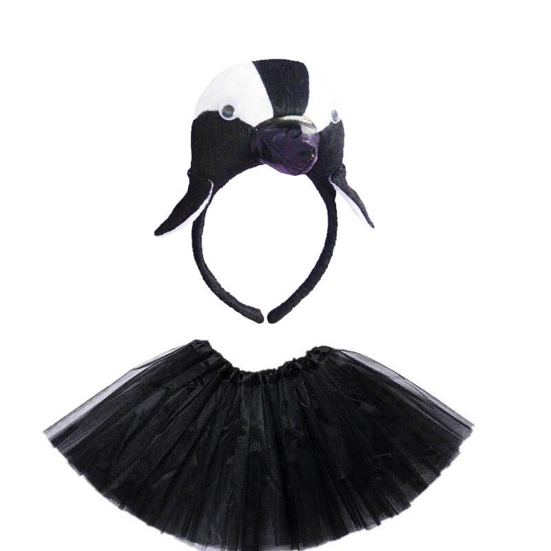 Kids Children Cartoon Animal Penguin Headband Cosplay Costume Skirt Tutu Birthday Party Purim Christmas