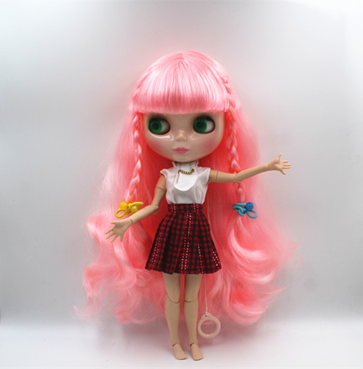 Blyth doll Pink, bangs, curly-haired nude dolls, 19 joint human bodies, cute fashion gift dolls.