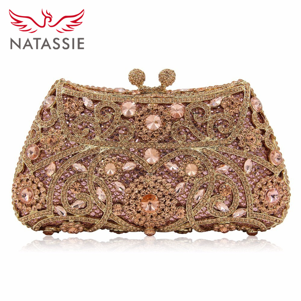 NATASSIE Women Evening Bags Ladies Wedding Party Clutch Bag Crystal Gold Diamonds Purses new women evening bags ladies wedding party clutch bag crystal fashion geometric minaudiere purses diamonds bag smyzh f0136