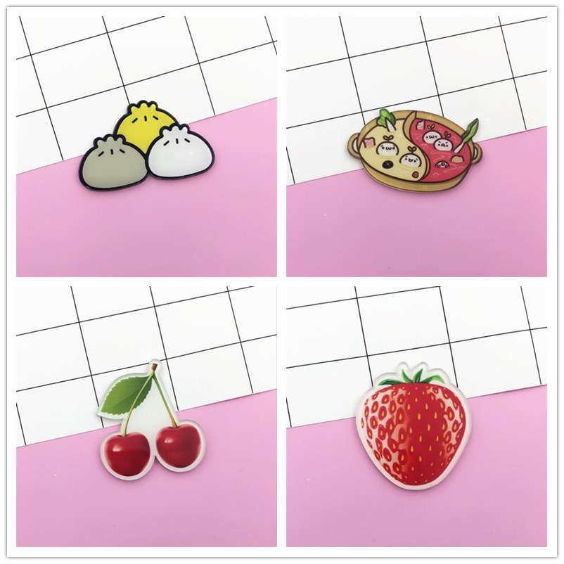1 PCS Cartoon Watermelon Banana Carrot Brooch Acrylic Badges Icons On The Backpack Pin Badge Decoration Badges For Clothing