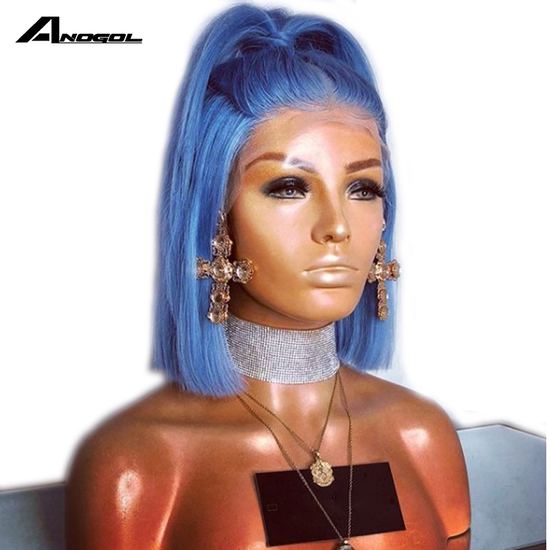 Anogol Short Straight Blue Bob Synthetic Lace Front Wig For Afro American Black Women Aqua Middle Part High Temperature Fiber