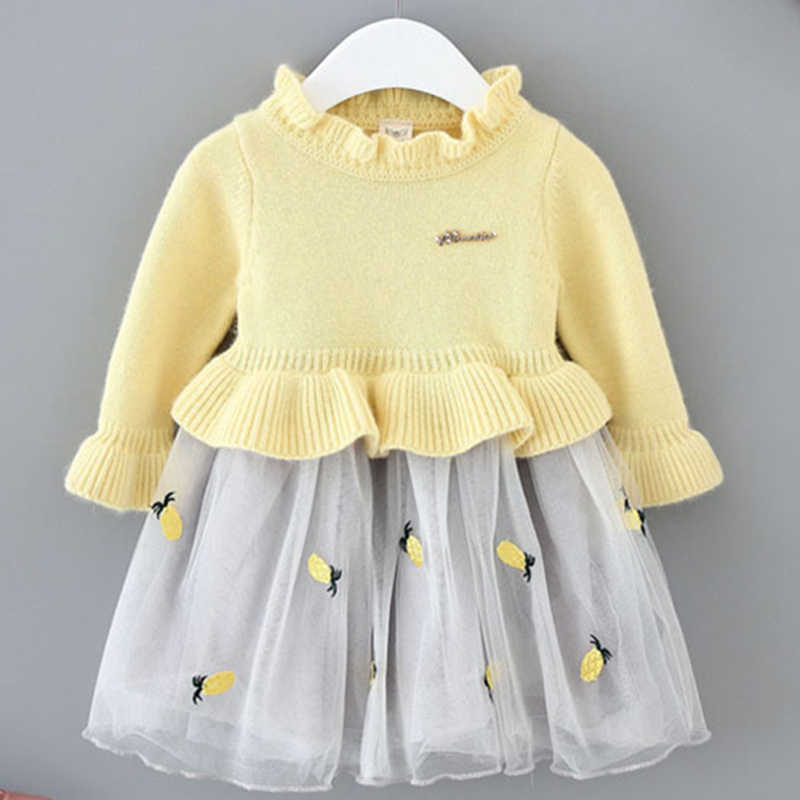 3bbfeec16b04 Baby Girl Dress Pineapple Embroidered Tulle Dress Sweater Dress Winter Baby  Clothes B014 Long Sleeve Frocks