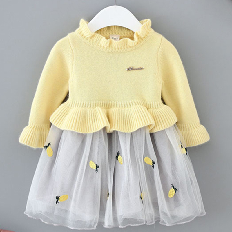 Baby Girl Dress Pineapple Embroidered Tulle Dress Sweater Dress Winter Baby Clothes B014 Long Sleeve Frocks Vestidos Infantil flounce sleeve embroidered mesh dress