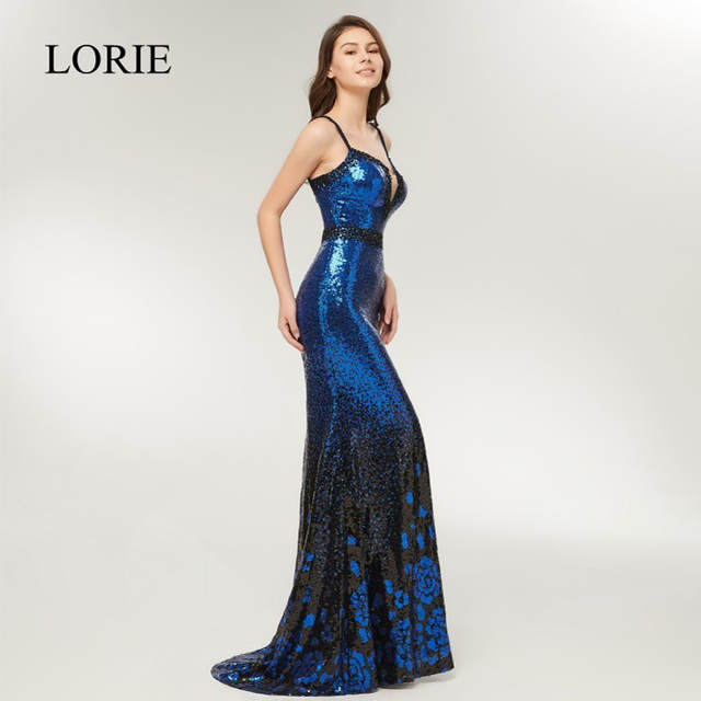 Online Shop Sexy Girls Mermaid Prom Dresses 2018 LORIE Spaghetti Straps  Royal Blue Sequin Evening Party Dress Long Formal Gowns Beading Top  2c7ce850d7a5