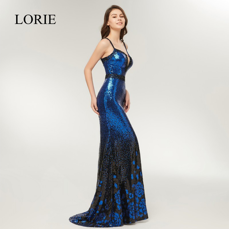 Sexy Girls Mermaid   Prom     Dresses   2018 LORIE Spaghetti Straps Royal Blue Sequin Evening Party   Dress   Long Formal Gowns Beading Top