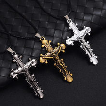 HYBZH New Trendy Men Jewelry  Initial Letters Carved Imitation Titanium Steel Gothic Jesus Cross Pendant Necklace XL739