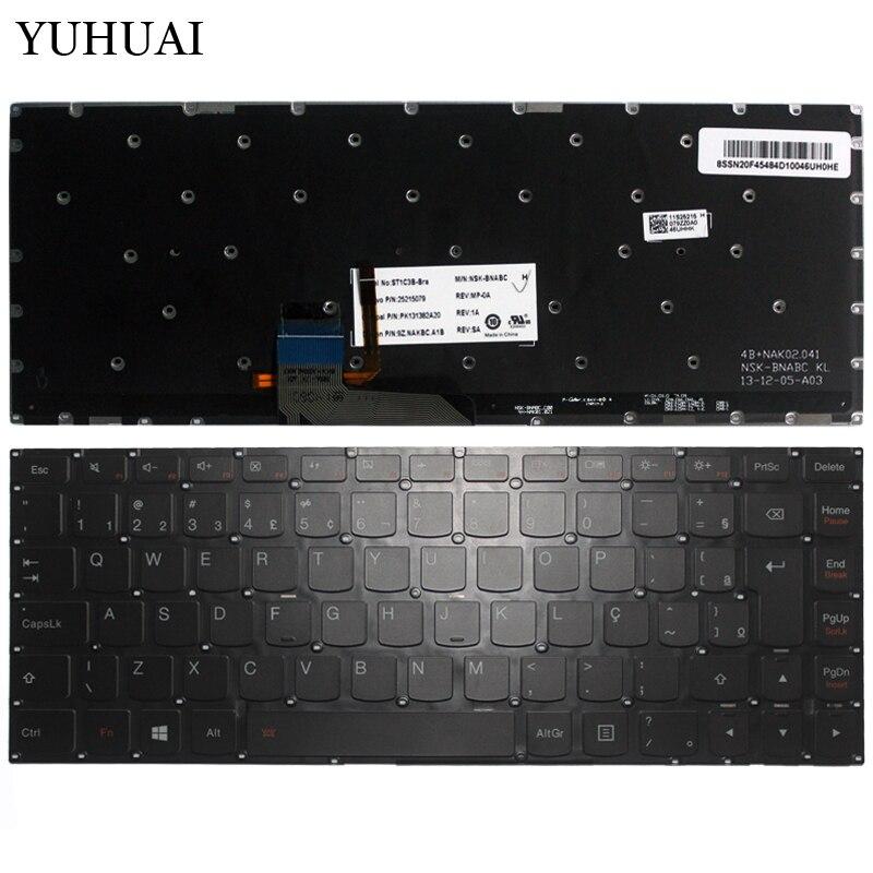 100% New Brazil Laptop Keyboard FOR Lenovo Ideapad yoga 2 13 14 Yoga2 13 U31 BR Keyboard Backlit (not for pro) 25215079 new russian keyboard for lenovo thinkpad yoga 4 pro yoga 900 backlit ru laptop keyboard
