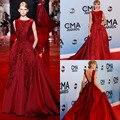Эли сааб платья знаменитостей популярные красный высокий воротник рукавов с открытой спиной знаменитости с блесток красной ковровой дорожке платья на C3003