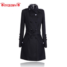 Winter Women Outerwear 2018 New Solid Color Large Size Medium Long Section Double Breasted Stand Collar Women Woolen Coat Ll227
