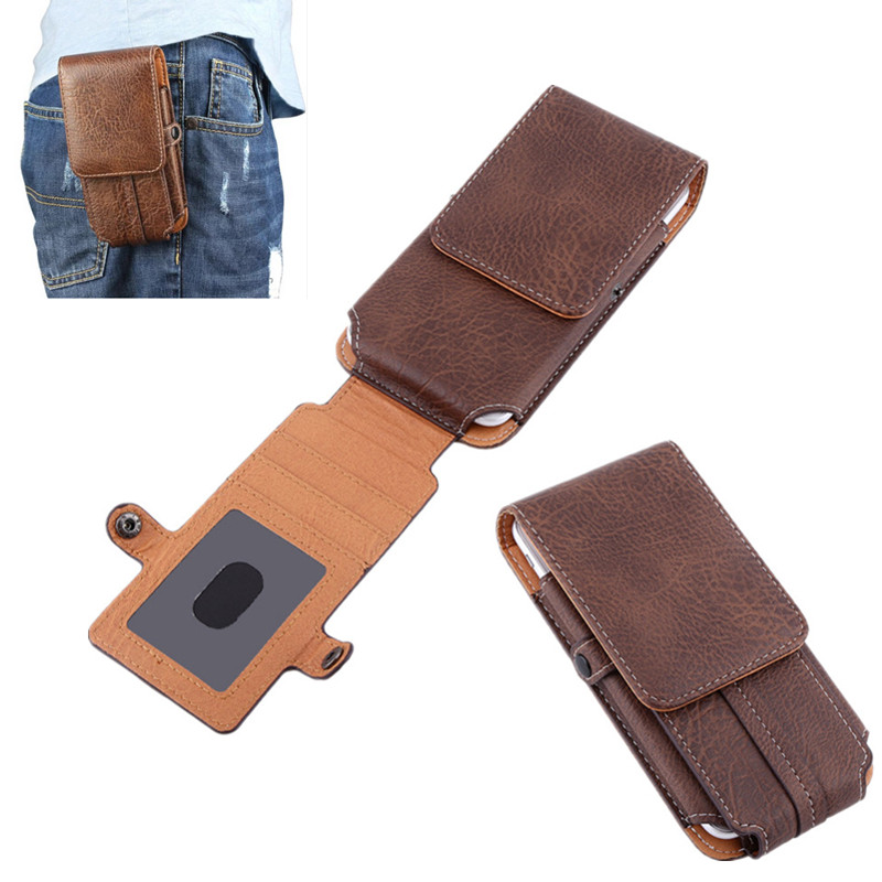 Retro Mens Universal Double Deck Mountaineering Phone Case Bag Belt Clip Holster For iphone 7 7S 6 6S 5s 4s case W/ Card Slot