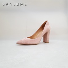 SANLUME NEW 9 CM Autumn Pink Suede Genuine leather Chunky Pumps Women Shoes Woman Sexy Party High Heels Slip On Pointed Toe