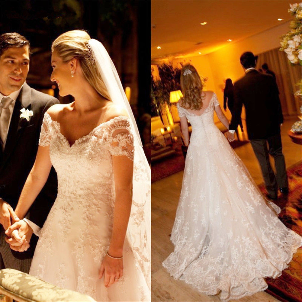 Backless Vestido De Noiva 2019 Muslim Wedding Dresses A-line Cap Sleeves Tulle Lace Beaded Boho Dubai Arabic Wedding Gown Bridal