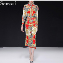 Svoryxiu Fashion Designer Leopard Gold Flower Print Pants Suits Women's Spring Summer Elegant Office Lady Two Piece Set Female