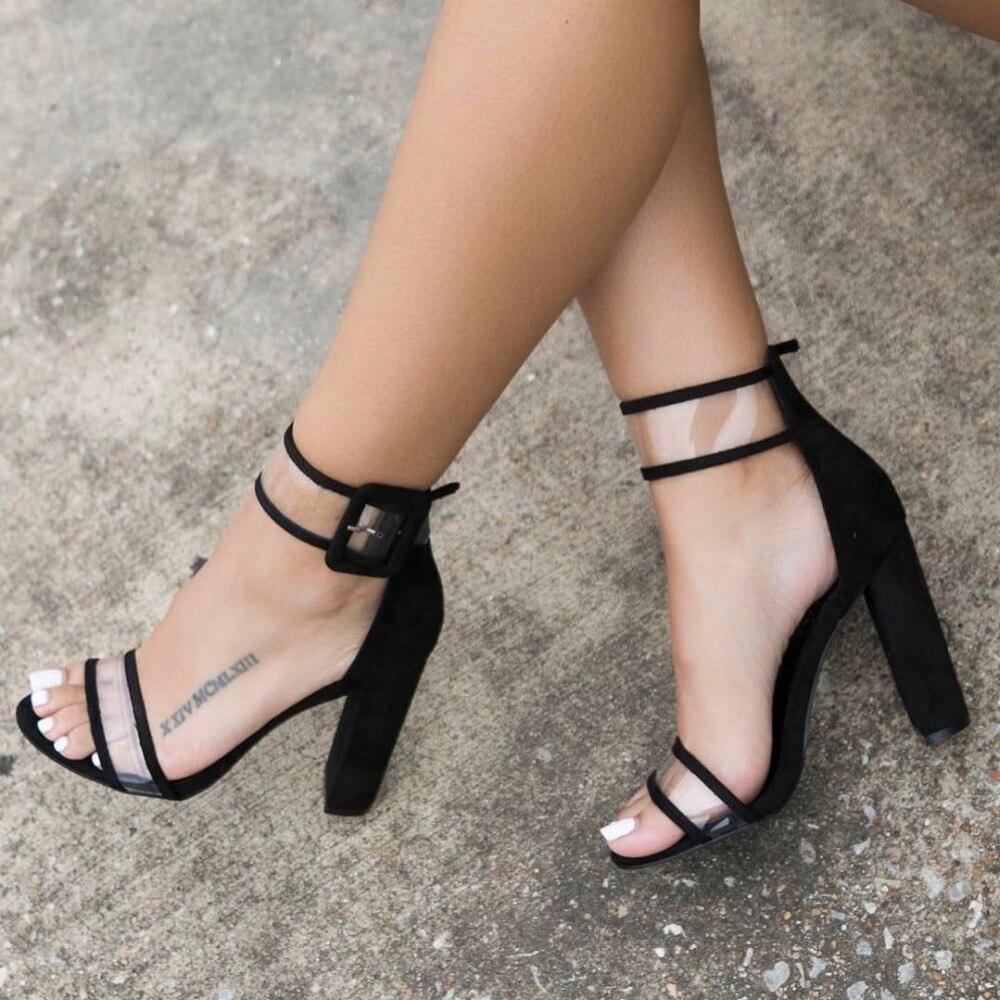 Womens sandals in size 12 - Lala Ikai Plus 10 11 12 Size Women Sandals 10cm Heels Shoes Transparent Clear Sandalias Mujer