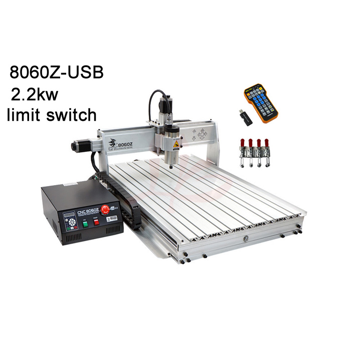 High power 2200W metal milling machine 8060 cnc router work stroke 585*790*65mm USB with Mach3 remote control cnc router wood milling machine cnc 3040z vfd800w 3axis usb for wood working with ball screw