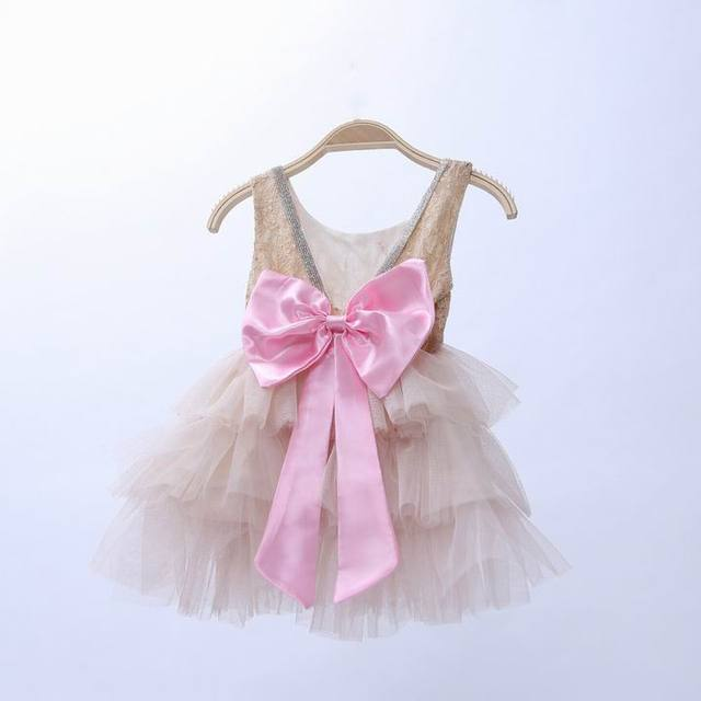 Girl Party Dresses Rhinestone Lace Big Bow Gauze TUTU Dress Girl Champagne  Tiered Dress Children Clothing 1567 be7e1069e190