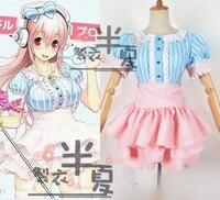 Hot Femmes de Filles Super Sonico Cosplay Costumes Maid Uniforme Anime Lolita Tops + Jupe