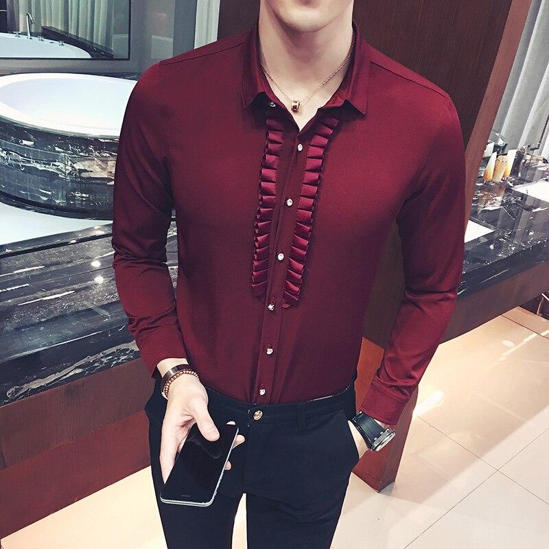 Baroque Shirts Mens Red Shirts For Mens Luxury Mens Shirts 2017 Vintage Wedding Dress Casual Camisa